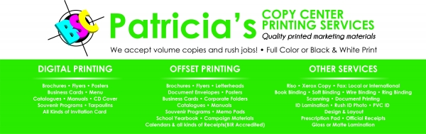 Patricia's Copy Center, Printing Services (Makati City